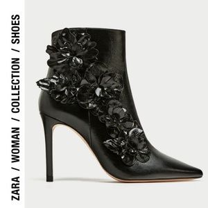 Zara Collection 36 Black Leather Floral Ankle Boot